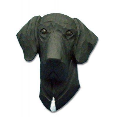 Great Dane Head Plaque Figurine Black Uncropped 1