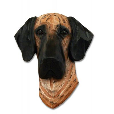 Great Dane Head Plaque Figurine Brindle Uncropped 1