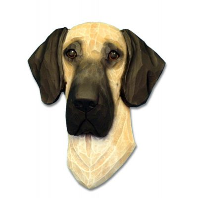 Great Dane Head Plaque Figurine Fawn Uncropped 1