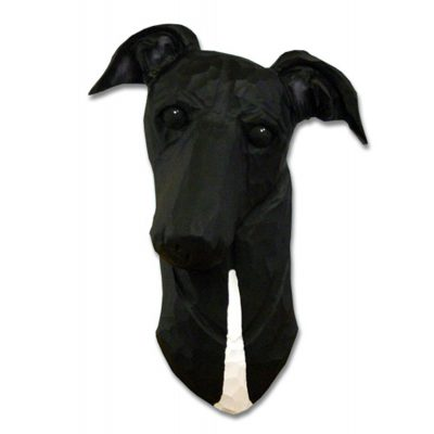 Greyhound Head Plaque Figurine Black