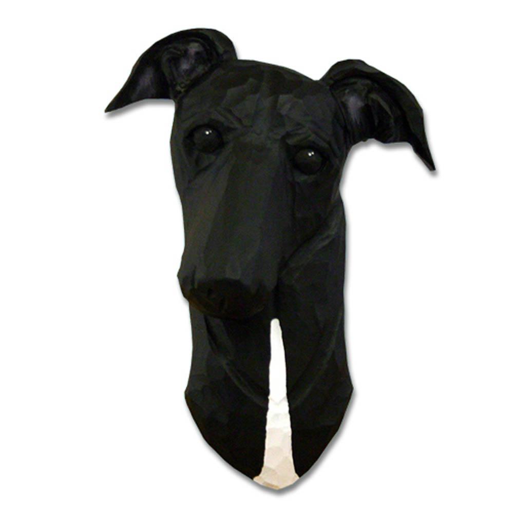Greyhound Head Plaque Figurine Black