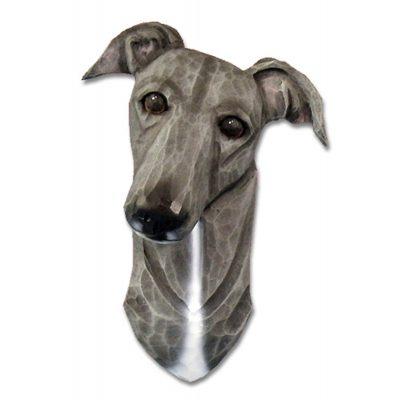 Greyhound Head Plaque Figurine Blue