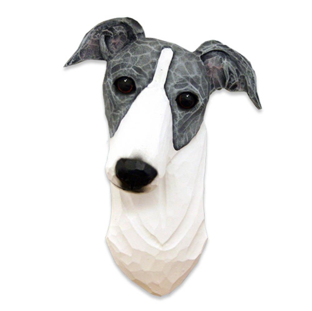 Greyhound Head Plaque Figurine Blue/White