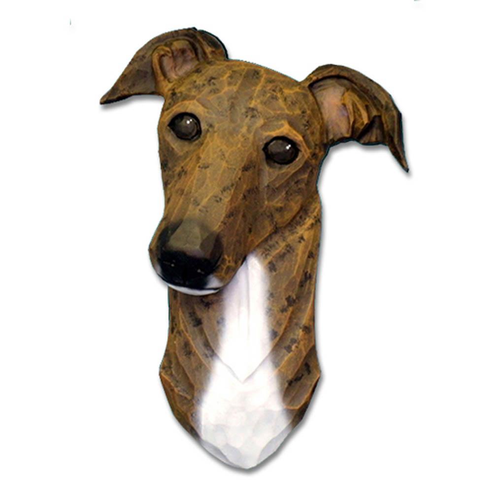 Greyhound Head Plaque Figurine Brindle