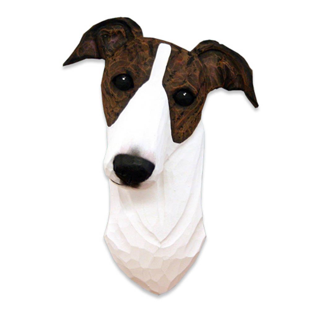Greyhound Head Plaque Figurine Brindle/White