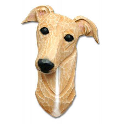 Greyhound Head Plaque Figurine Fawn