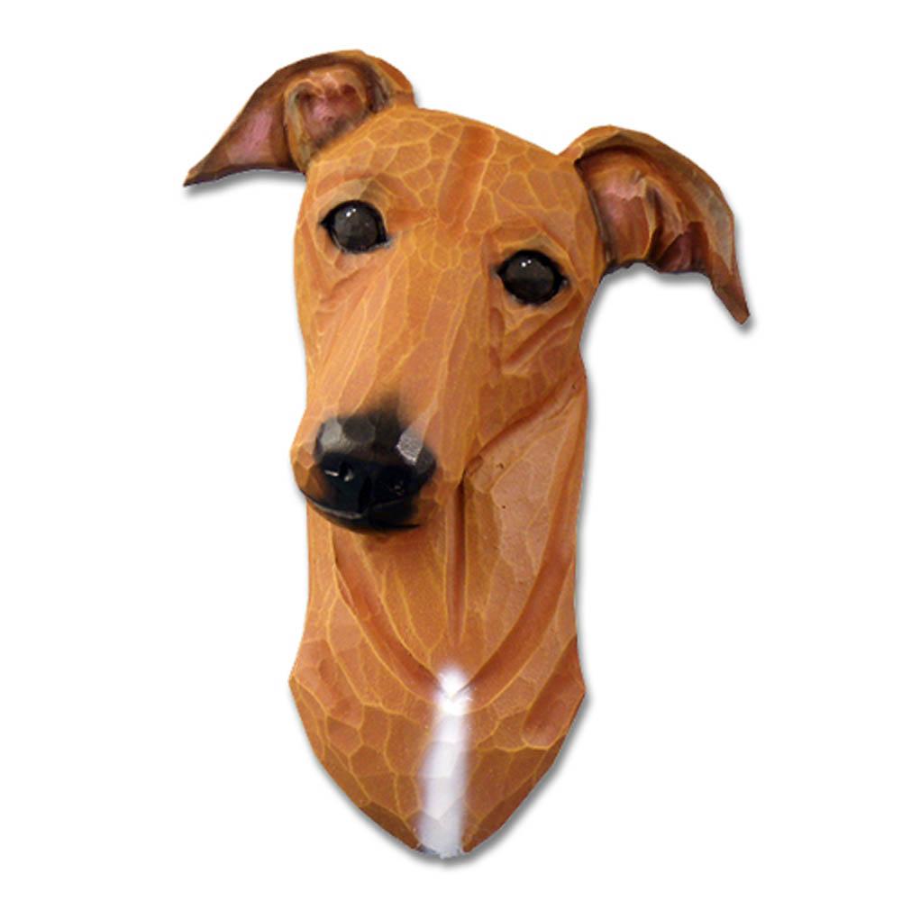 Greyhound Head Plaque Figurine Red