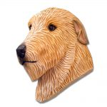 Irish Wolfhound Head Plaque Figurine Fawn 1