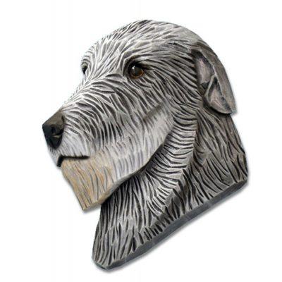 Irish Wolfhound Head Plaque Figurine Grey 1