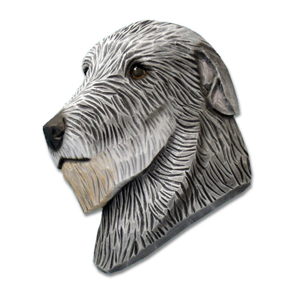 Irish Wolfhound Head Plaque Figurine Grey