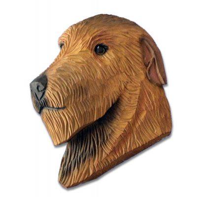Irish Wolfhound Head Plaque Figurine Red 1