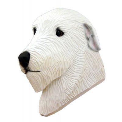 Irish Wolfhound Head Plaque Figurine White 1