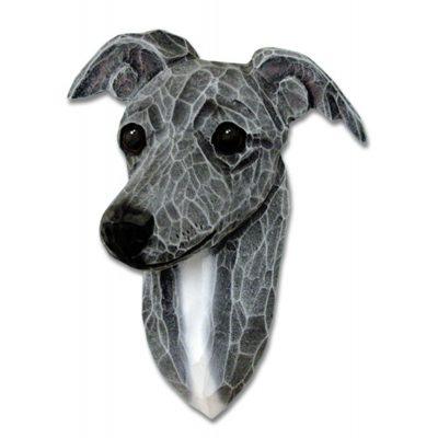 Italian Greyhound Head Plaque Figurine Blue 1
