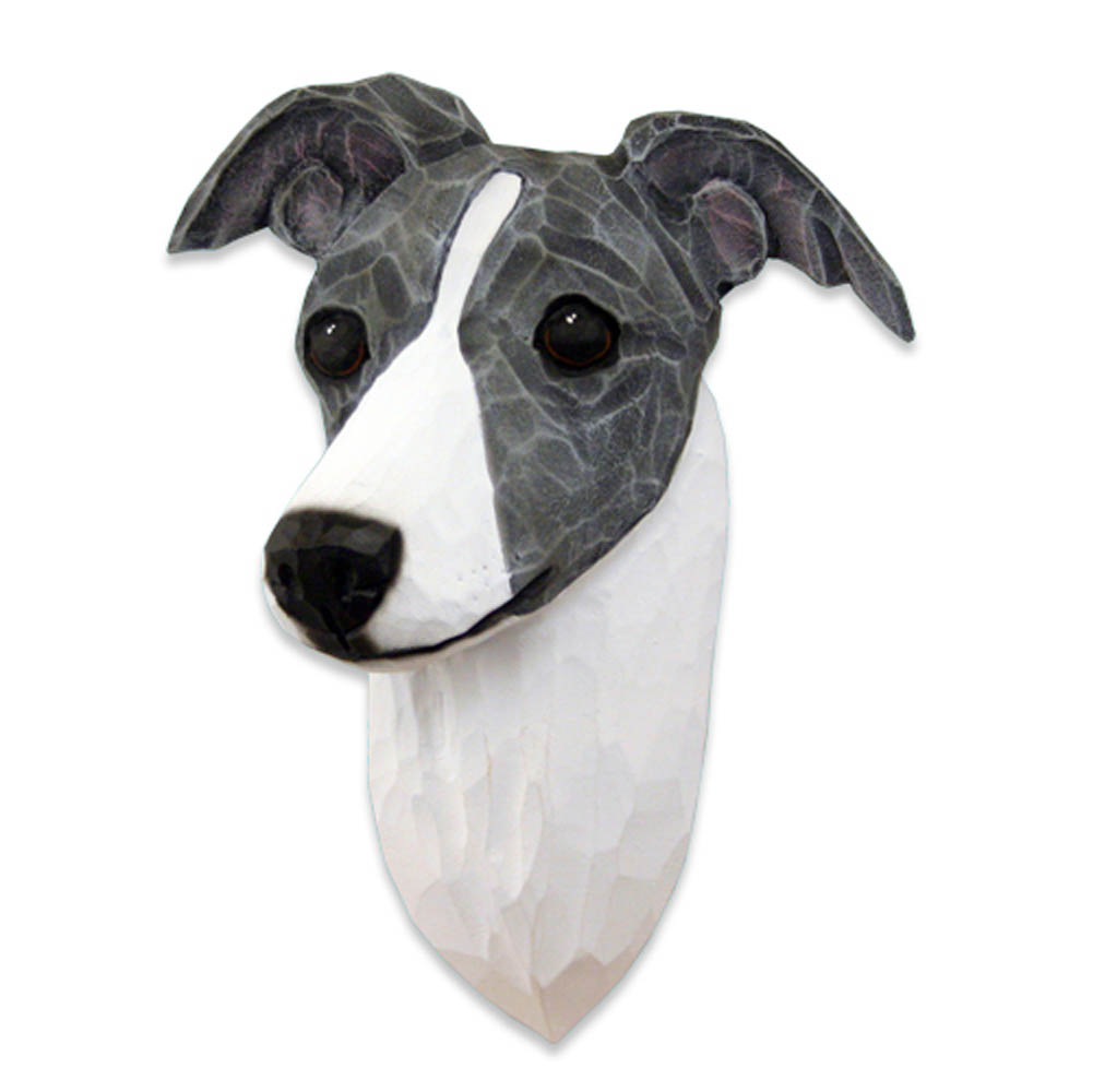 Italian Greyhound Head Plaque Figurine Blue/White