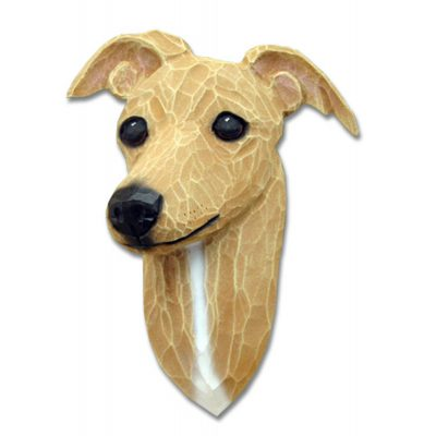 Italian Greyhound Head Plaque Figurine Fawn 1