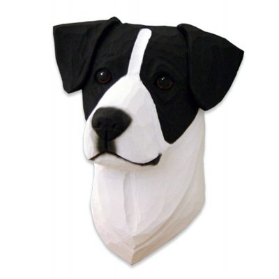 Jack Russell Terrier Head Plaque Figurine Black/White