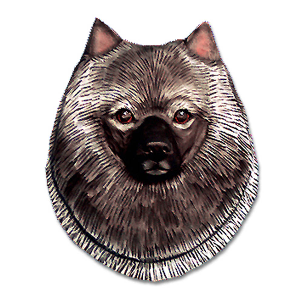 Keeshond Head Plaque Figurine