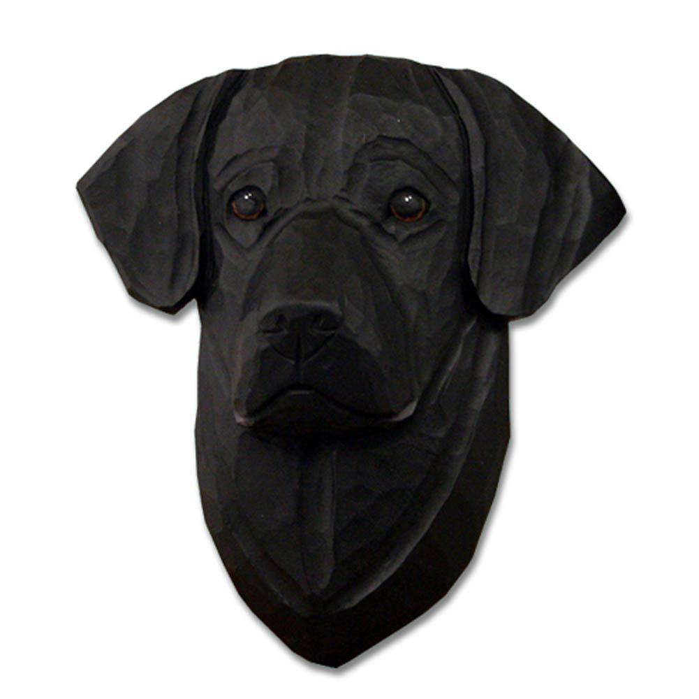 Black Labrador Head Plaque Figurine