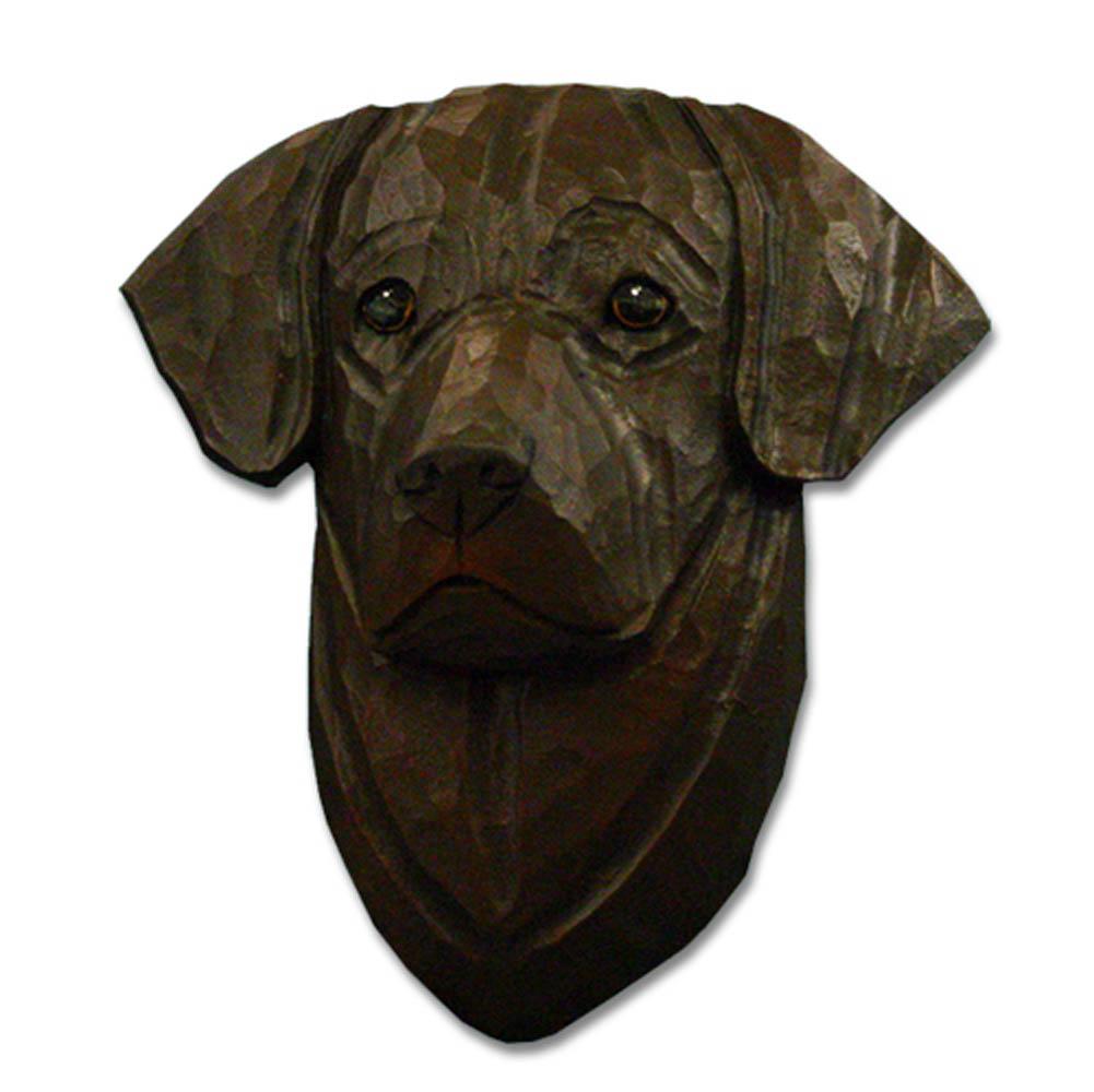 Chocolate Labrador Head Plaque Figurine