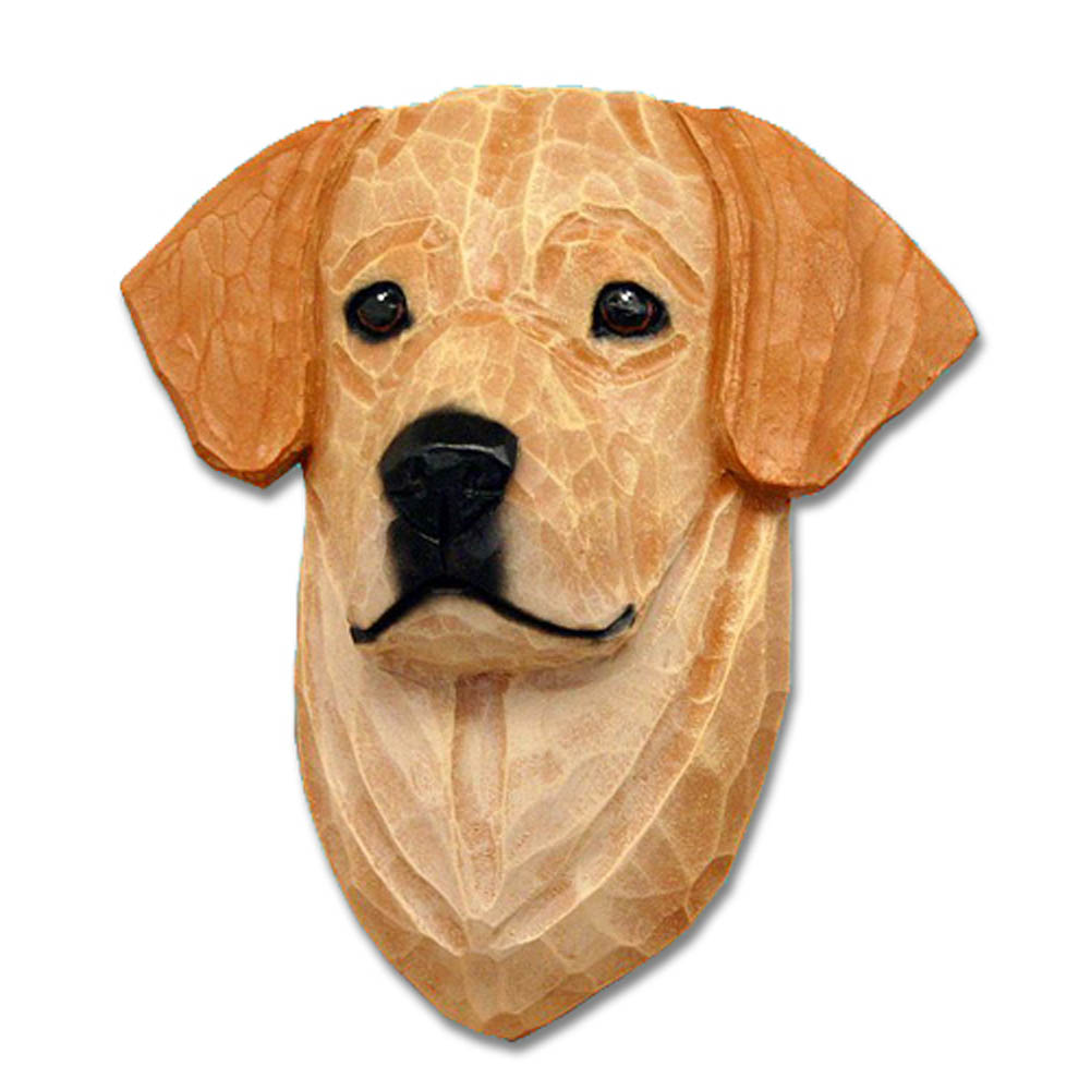 Yellow Labrador Head Plaque Figurine