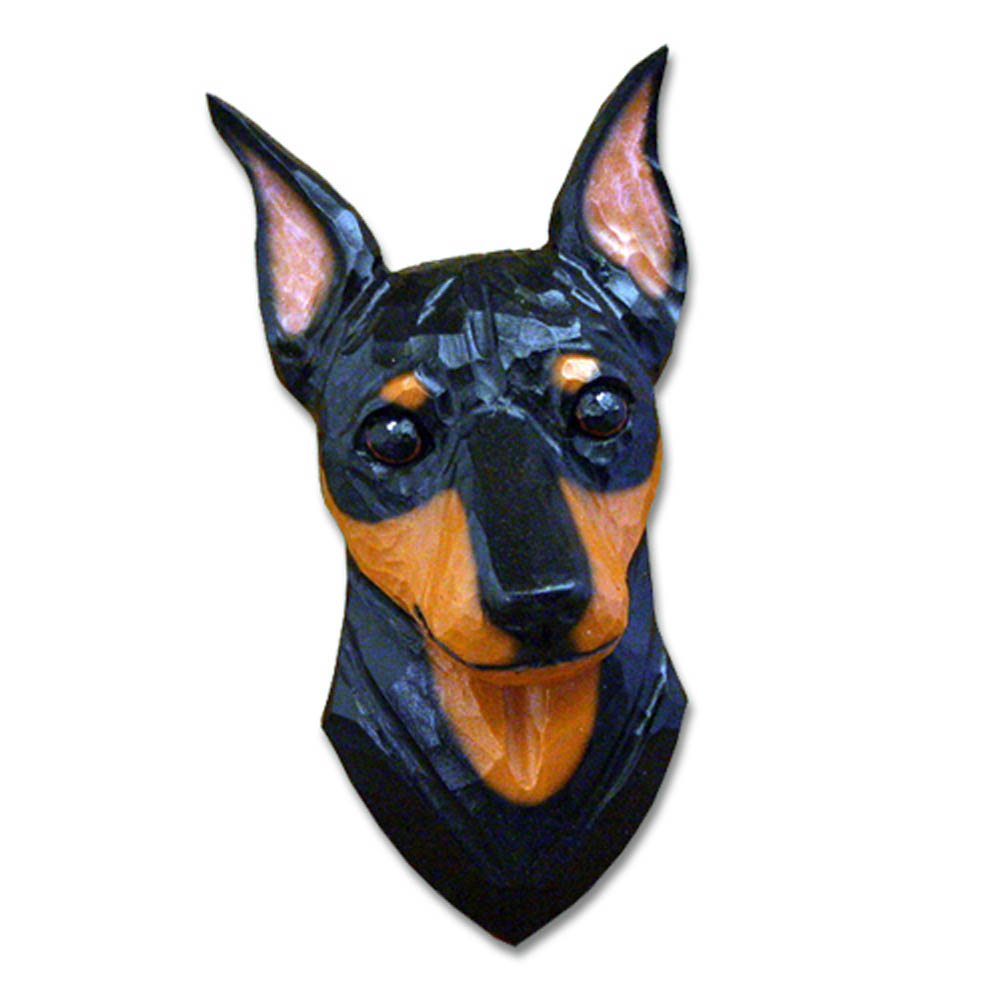 Miniature Pinscher Head Plaque Figurine Black/Tan