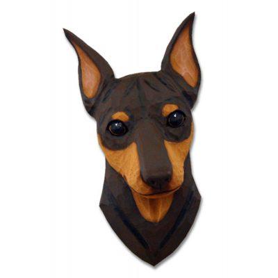 Miniature Pinscher Head Plaque Figurine Chocolate/Tan