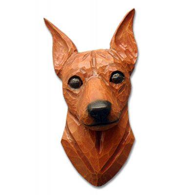 Miniature Pinscher Head Plaque Figurine Red