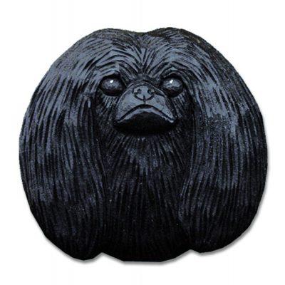 Pekingese Head Plaque Figurine Black