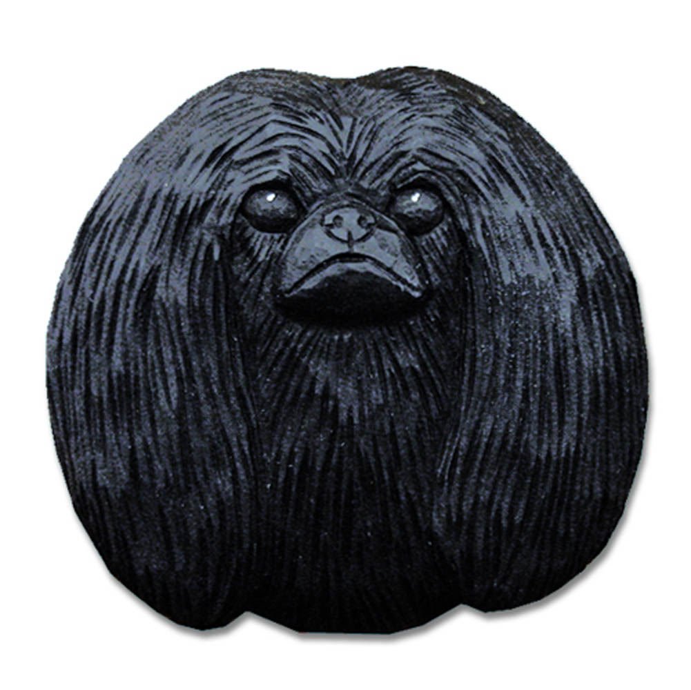 Pekingese Head Plaque Figurine Black