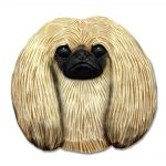 Pekingese Head Plaque Figurine Fawn