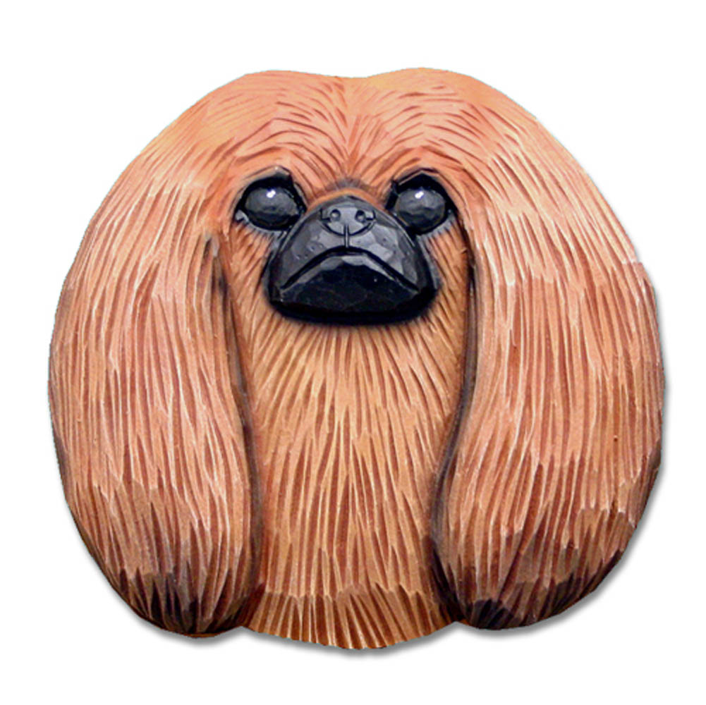 Pekingese Head Plaque Figurine Red