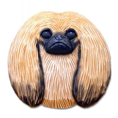 Pekingese Head Plaque Figurine Sable 1