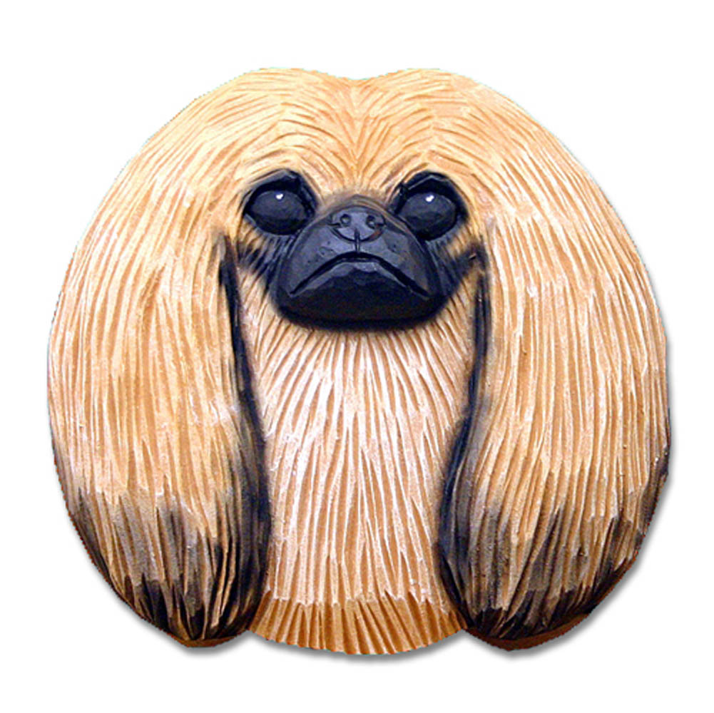 Pekingese Head Plaque Figurine Sable