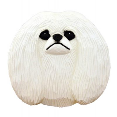 Pekingese Head Plaque Figurine White 1