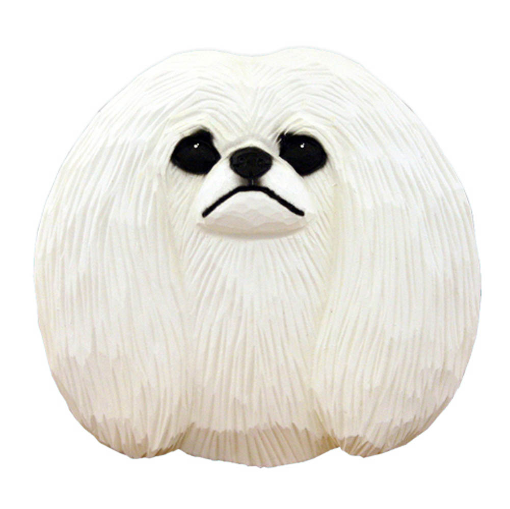 Pekingese Head Plaque Figurine White
