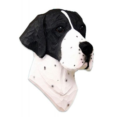 English Pointer Head Plaque Figurine Black