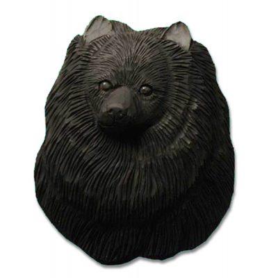 Pomeranian Head Plaque Figurine Black 1