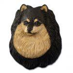 Pomeranian Head Plaque Figurine Black/Tan