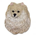 Pomeranian Head Plaque Figurine Cream 1