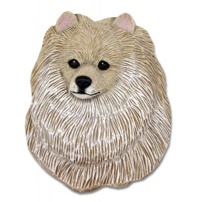Pomeranian Head Plaque Figurine Cream