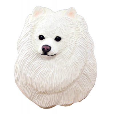 Pomeranian Head Plaque Figurine White 1