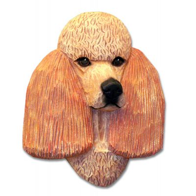 Poodle Head Plaque Figurine Apricot