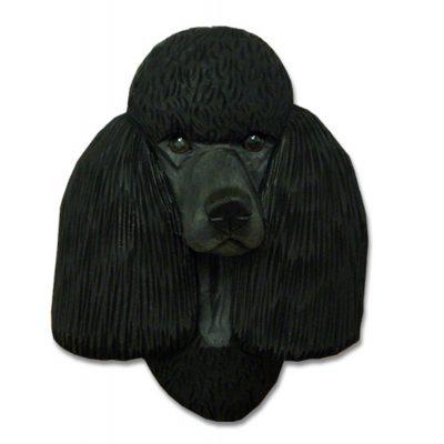 Poodle Head Plaque Figurine Black