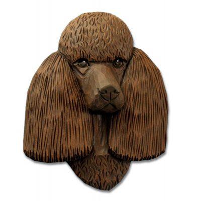 Poodle Head Plaque Figurine Brown