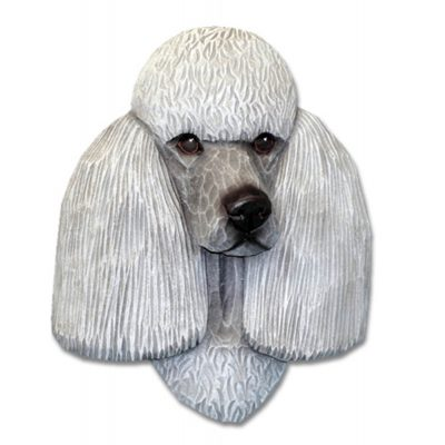 Poodle Head Plaque Figurine Grey 1