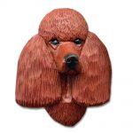 Poodle Head Plaque Figurine Red 1