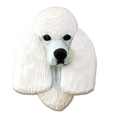 Poodle Head Plaque Figurine White