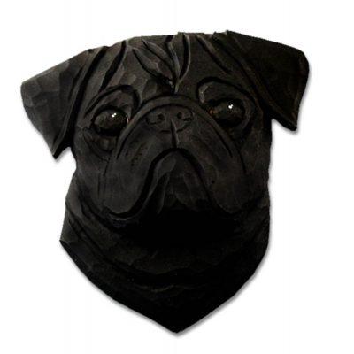 Pug Head Plaque Figurine Black 1