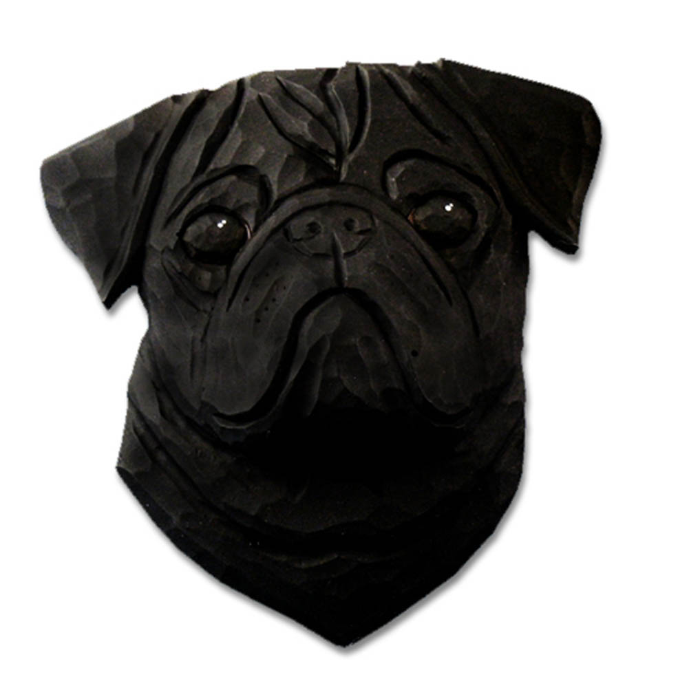 Pug Head Plaque Figurine Black