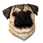 Pug Head Plaque Figurine Fawn